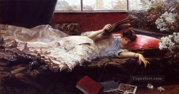 Julius LeBlanc Stewart Painting - An Idle Afternoon women Julius LeBlanc Stewart