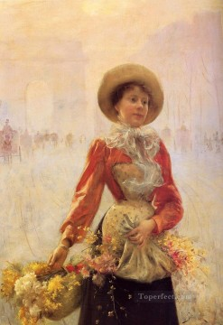 Julius LeBlanc Stewart Painting - Flower Girl women Julius LeBlanc Stewart