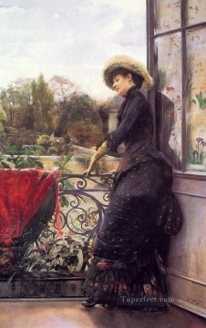 Julius LeBlanc Stewart Painting - On The Terrace women Julius LeBlanc Stewart