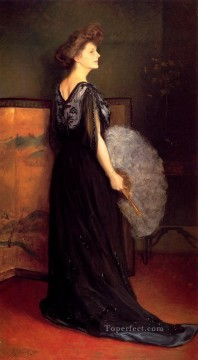 Lake Oil Painting - Portrait Of Mrs Francis Stanton Blake women Julius LeBlanc Stewart