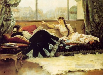 Julius LeBlanc Stewart Painting - Reading Aloud women Julius LeBlanc Stewart