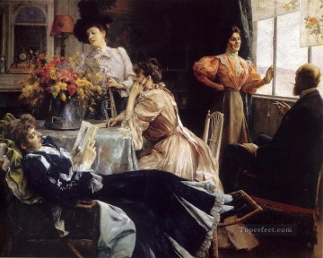 Julius LeBlanc Stewart Painting - At Home women Julius LeBlanc Stewart