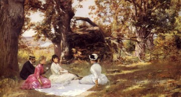 Julius LeBlanc Stewart Painting - Picnic Under The Trees women Julius LeBlanc Stewart
