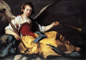 Strozzi Art Painting - A Personification Of Fame Italian Baroque Bernardo Strozzi