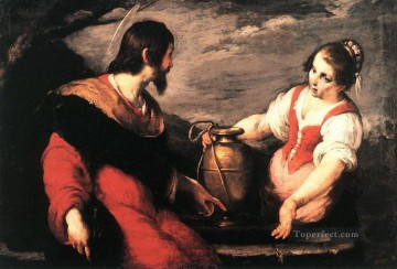 Strozzi Art Painting - Christ And The Samaritan Woman Italian Baroque Bernardo Strozzi