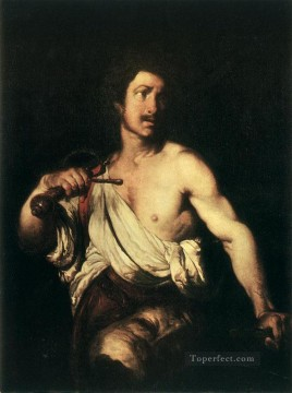 italian Painting - David With The Head Of Goliath Italian Baroque Bernardo Strozzi