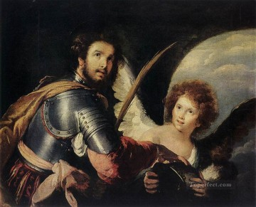 italian Painting - St maurice And The Angel Italian Baroque Bernardo Strozzi