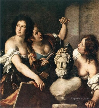 italian Painting - Allegory Of Arts Italian Baroque Bernardo Strozzi