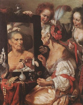 italian Painting - Old Woman At The Mirror Italian Baroque Bernardo Strozzi