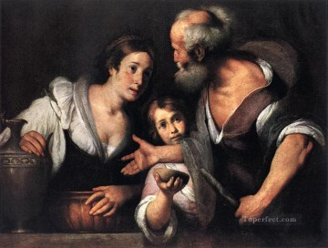 Strozzi Art Painting - Prophet Elijah And The Widow Of Sarepta Italian Baroque Bernardo Strozzi