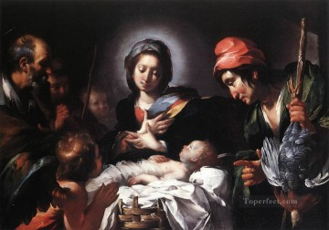 Strozzi Art Painting - Adoration Of The Shepherds Italian Baroque Bernardo Strozzi