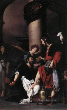 Bernardo Strozzi Painting - St Augustine Washing The Feet Of Christ Italian Baroque Bernardo Strozzi