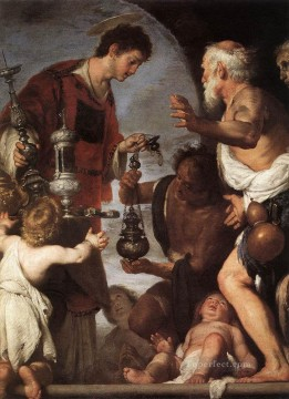 Bernardo Strozzi Painting - The Charity Of St Lawrence 1639 Italian Baroque Bernardo Strozzi