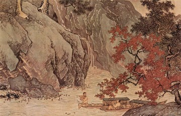 fishing life in mountains old China ink Oil Paintings