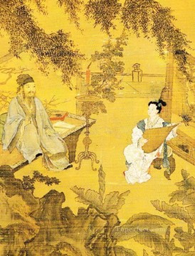 tao gu presents a poem 1515 old China ink Oil Paintings