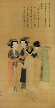 court ladies of the former shu old China ink Oil Paintings