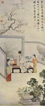 ladies in Tang dynasty old China ink Oil Paintings
