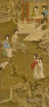 making the bride s gown anonymous copy after tang yin old China ink Oil Paintings