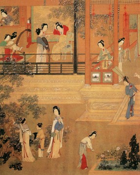 ladies in palace old China ink Oil Paintings