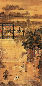 ladies in park old China ink Oil Paintings