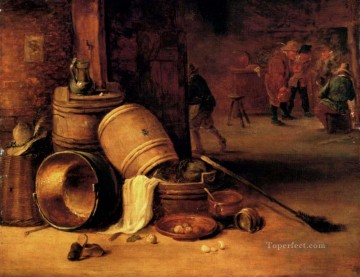 David Teniers the Younger Painting - An Interior Scene With Pots Barrels Baskets Onions And Cabbages David Teniers the Younger
