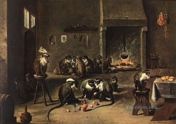 David Teniers the Younger Painting - Apes in the Kitchen David Teniers the Younger