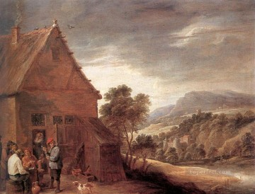 David Teniers the Younger Painting - Before The Inn David Teniers the Younger