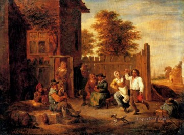 David Teniers the Younger Painting - Peasants Merrymaking Outside An Inn David Teniers the Younger