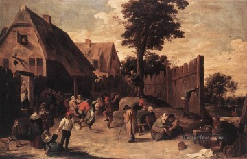 David Teniers the Younger Painting - Peasants Dancing Outside An Inn David Teniers the Younger