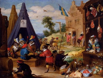 David Teniers the Younger Painting - A Festival Of Monkeys David Teniers the Younger