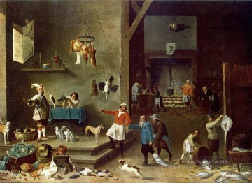 David Teniers the Younger Painting - The Kitchen David Teniers the Younger