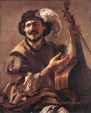 Glass Painting - A Laughing Bravo With A Bass Viol And A Glass Dutch painter Hendrick ter Brugghen