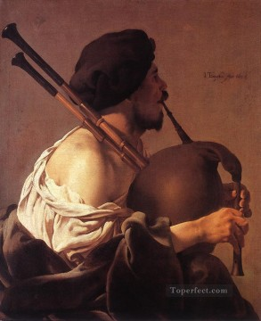 Bag Painting - Bagpipe Player Dutch painter Hendrick ter Brugghen