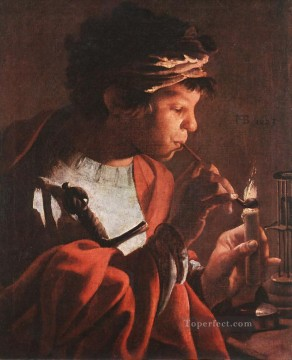 Boy Art - Boy Lighting A Pipe Dutch painter Hendrick ter Brugghen