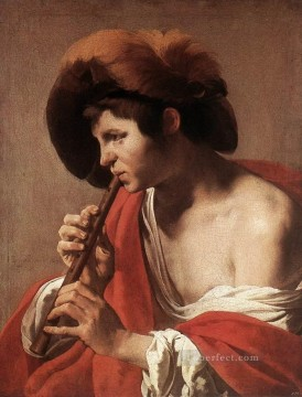 Playing Painting - Boy Playing Flute Dutch painter Hendrick ter Brugghen