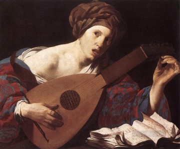 Playing Painting - Woman Playing The Lute Dutch painter Hendrick ter Brugghen