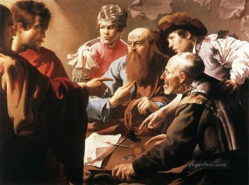 Hendrick ter Brugghen Painting - The Calling Of St Matthew Dutch painter Hendrick ter Brugghen