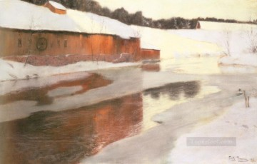 A factory Building Near An Icy River In Winter Norwegian Frits Thaulow Oil Paintings