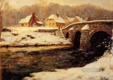 A Stone Bridge Over A Stream In Water Norwegian Frits Thaulow Oil Paintings