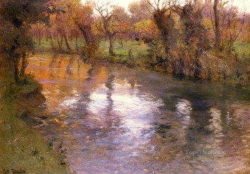 An Orchard On The Banks Of A River Norwegian Frits Thaulow Oil Paintings