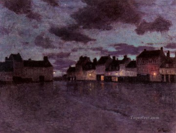 Marketplace In France After A Rainstorm Norwegian Frits Thaulow Oil Paintings