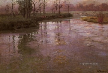 On The French River Norwegian Frits Thaulow Oil Paintings