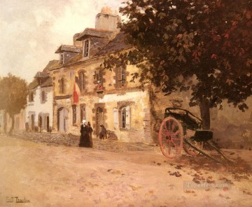 Frits Thaulow Painting - A Village Street In France Norwegian Frits Thaulow