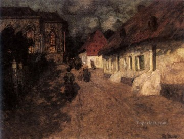 Midnight Mass Norwegian Frits Thaulow Oil Paintings