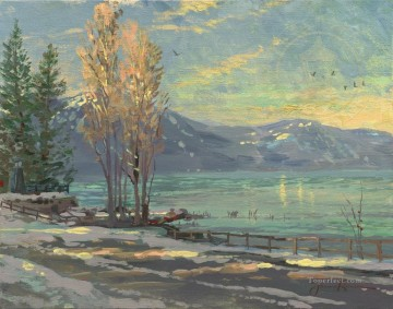 Thomas Kinkade Painting - Lake Tahoe Shoreline Winter Thomas Kinkade