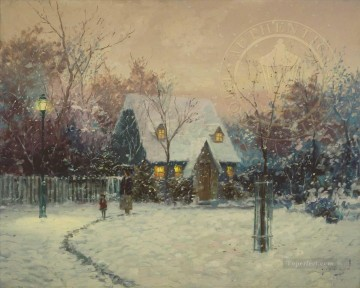 Thomas Kinkade Painting - A Winters Cottage Robert Girrard Thomas Kinkade