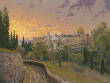 Thomas Kinkade Painting - Jerusalem Sunset Thomas Kinkade