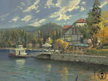Lake Oil Painting - Lake Arrowhead Thomas Kinkade