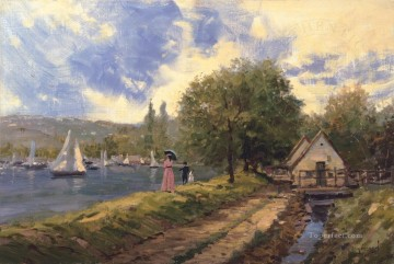 Thomas Kinkade Painting - Lakeside Stroll Thomas Kinkade