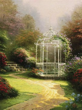 Kinkade Canvas - Lilac Gazebo Thomas Kinkade